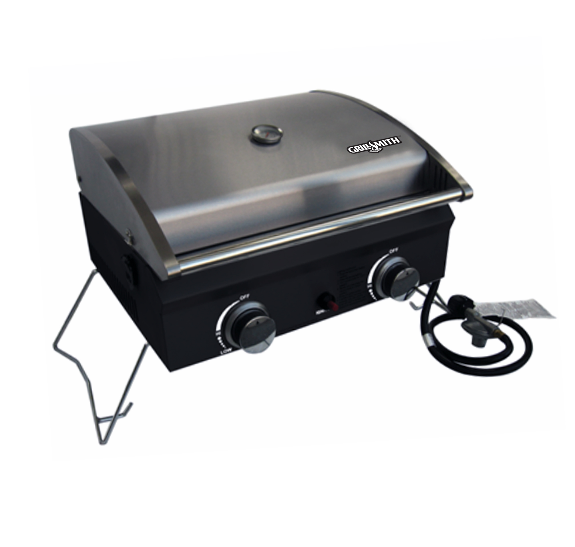 2 Burner Portable Stainless Steel Black Gas Grill
